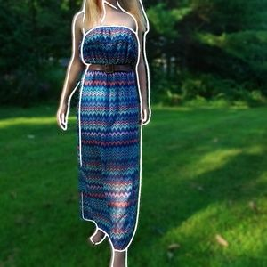 ☆ Colorful strapless maxi dress ☆